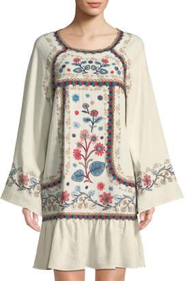 Leon Max Embroidered Long-Sleeve Gauze Mini Dress