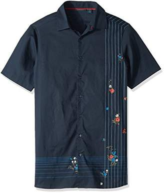 Perry Ellis Men's Big Tall Short Sleeve Floral Intersection Shirt
