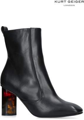 Next Womens Kurt Geiger London Black Leather Stride Block Heel Boot