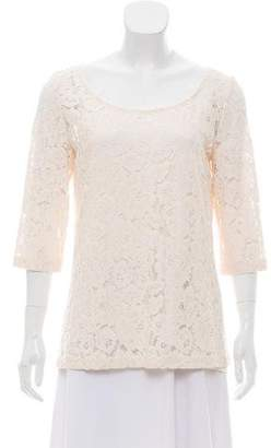 Lanvin Lace Three-Quarter Sleeve Top