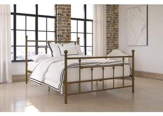 DHP Manila Metal Bed with Victorian Style Headboard and Footboard, Includes Metal Slats, Full, Gold