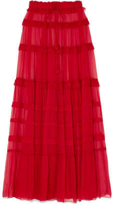 Lee Mathews - Eliza Tiered Silk-crepon Maxi Skirt