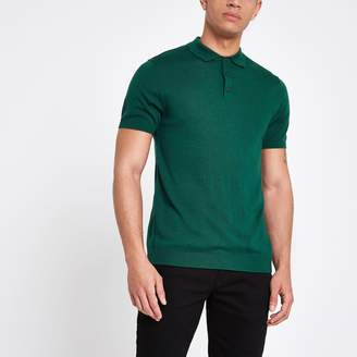 River Island Mens Selected Homme Green knitted polo shirt