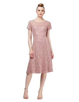 S.L. Fashions Women's Sequin Lace Fit and Flare Dress