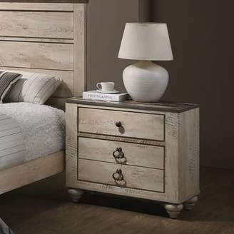 Roundhill Furniture Roundhill Imerland Contemporary White Wash Finish Patched Wood Top 3-drawer Nightstand
