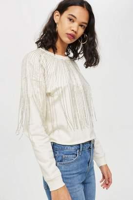 Topshop Fringe Crystal Sweatshirt
