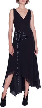 Akris Sleeveless V-Neck Asymmetric Gown