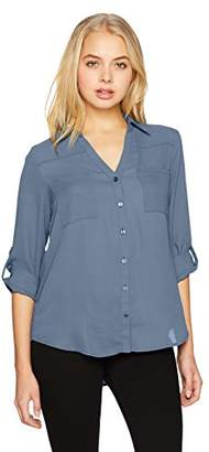 Amy Byer A. Byer Juniors Young Women's Teen Button Down Shirt with Roll-Tab Sleeves