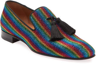 Christian Louboutin Men's Rainbow Stripe Metallic Formal Slippers