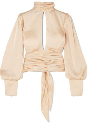 Orseund Iris - Night Out Ruched Satin Blouse - Cream
