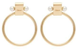 Chloé Darcey Logo Engraved Brass Hoop Earrings - Womens - Gold