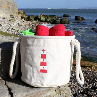 The Original Canvas Bucket Bag Company Beach Bag ' Lighthouse ' Design