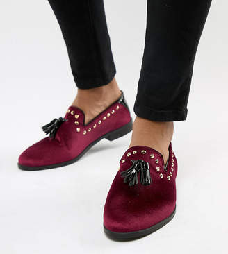 House of Hounds House Of Hounds Wide Fit Raptor stud tassel loafers in burgundy velvet