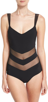 La Petite Robe by Chiara Boni Ione Illusion Mesh-Inset One-Piece Swimsuit, Black $410 thestylecure.com