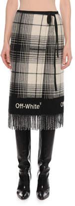 Off-White Check Wool-Blend Blanket Skirt