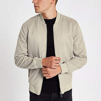 River Island Stone faux suede bomber jacket