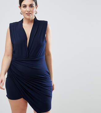 John Zack Plus Sleeveless Wrap Front Mini Dress