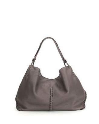 Bottega Veneta Cervo Large Shoulder Bag, Light Gray $2,200 thestylecure.com