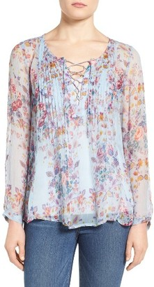 Women's Lucky Brand Lace-Up Floral Print Top $89.50 thestylecure.com