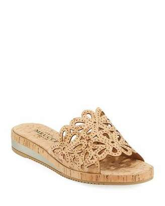 Sesto Meucci Senna Floral-Cut Cork Slide Sandal