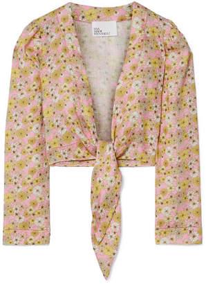 Lisa Marie Fernandez Cropped Floral-print Linen Top - Pink