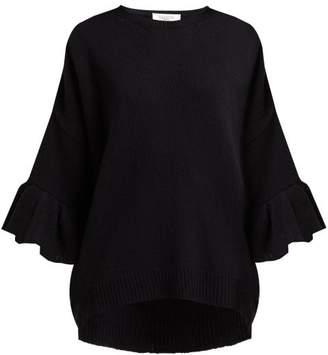 Valentino Ruffled Cuff Wool Blend Sweater - Womens - Black