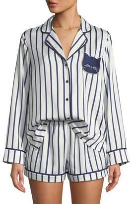 Kate Spade Striped Short Pajama Set With Cat Face