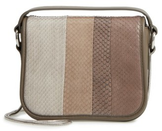 Allsaints Ikuya Leather & Genuine Snakeskin Clutch - Grey $278 thestylecure.com