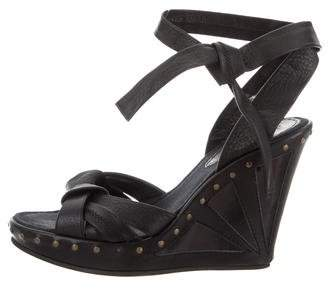 Fendi Studded Leather Wedge Sandals