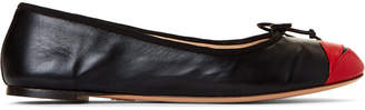Charlotte Olympia Black & Red Kiss Me Darcy Leather Flats