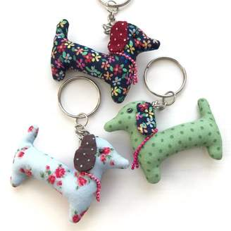 Pink Pineapple Home & Gifts Dog Fabric Keyring Dachshund