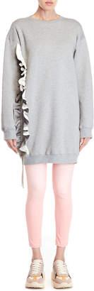 MSGM Grey Drawstring Ruffle Sweatshirt