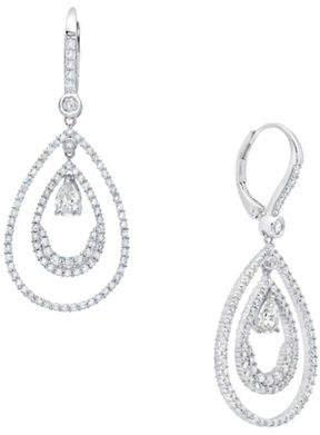 Crislu ANDREW PRINCE BY Andrew Prince Pear-Shaped Double Loop Drop Earrings