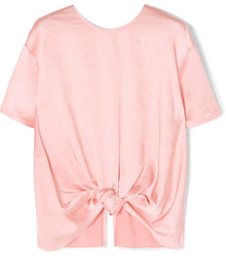 REJINA PYO Amber Knotted Satin Top - Blush