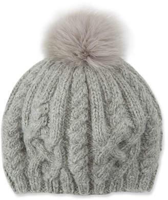 Eugenia Kim Genevieve Ribbed Baby Alpaca Hat w/ Fur Pompom