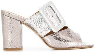 Paris Texas snakeskin effect heeled mules