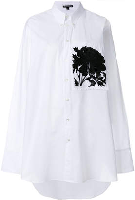 Ann Demeulemeester peony embroidered oversized shirt