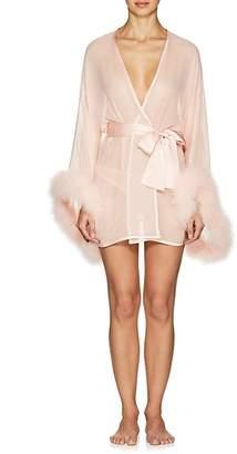 GILDA & PEARL Women's Diana Marabou-Detailed Silk Robe