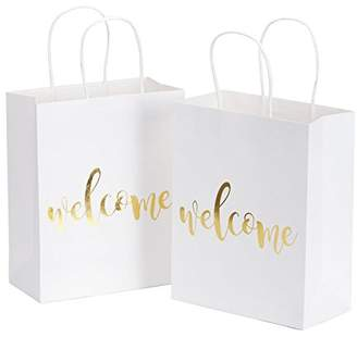LaRibbons Medium Welcome Gift Bags - Gold Foil White Paper Bags with Handles for Wedding