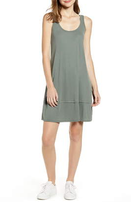 Splendid Asymmetrical Hem Washed Ribbed Jersey Dress