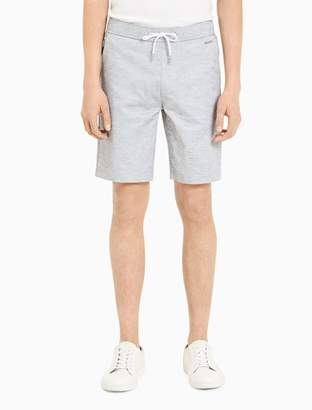 Calvin Klein chambray linen stretch drawstring shorts