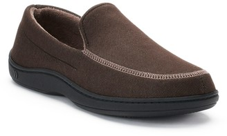 Isotoner Men's Chandler Knit Twill Hoodback Moccasin Slippers