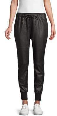 Faux Leather Drawstring Jogger Pants
