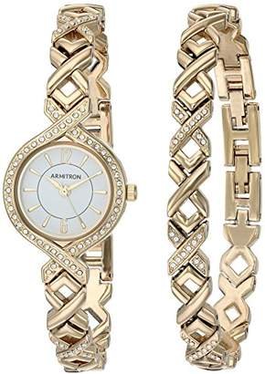 Swarovski Armitron Women's 75/5412WTGPST Crystal Accented -Tone Watch and Bracelet Set