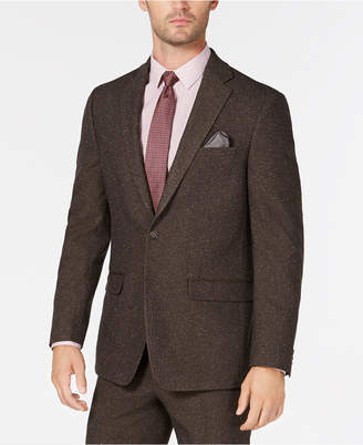 Sean John Men's Slim-Fit Stretch Brown Herringbone Suit Jacket