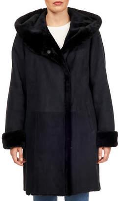 Gorski Franca Short Hooded Shearling Fur-Trim Suede Coat