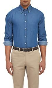 Brunello Cucinelli Men's Chambray Shirt - Blue