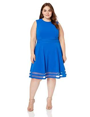 Calvin Klein Women's Plus Size Fit and Flare Dress with Sheer Inserts at Hem
