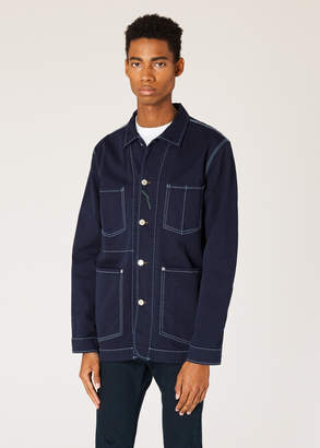 Paul Smith Men's Navy Over-Dyed Denim Chore Jacket With Contrast Stitching