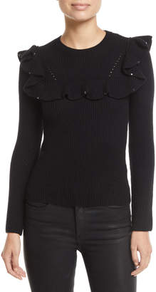 Valentino Ruffled-Bib Crewneck Long-Sleeve Ribbed-Wool Sweater